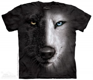 Black And White Wolf Face - T-shirt The Mountain