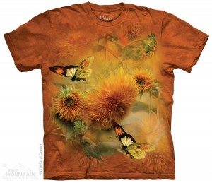 Sunflowers and Butterflies - kwiaty i motyle - koszulka unisex The Mountain