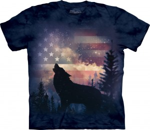 Patriotic Howl - wilk - koszulka unisex The Mountain