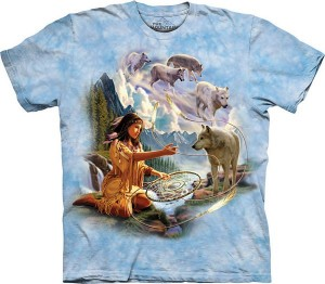 Dreams of Wolf Spirit - Indianka z wilkami - koszulka unisex The Mountain