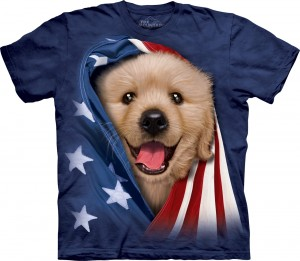 Patriotic Golden Pup - pies - koszulka unisex The Mountain